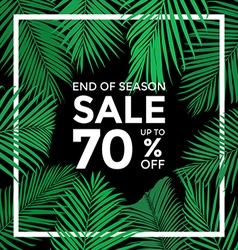 End of season sale banner plam leaves with with b vector