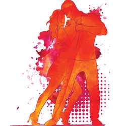 Silhouette of a dancing couple vector