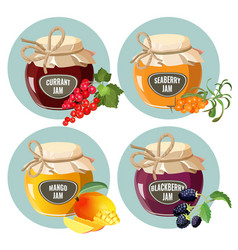 Jars with red strawberry healthy pineapple apple vector