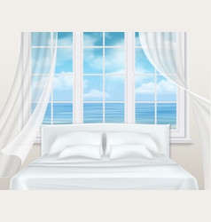 Bed near window vector