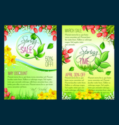 spring sale floral poster discount flyer template vector image