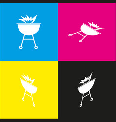 Barbecue with fire sign  white icon with vector