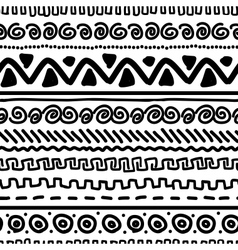 Handmade pattern with ethnic geometric ornament vector