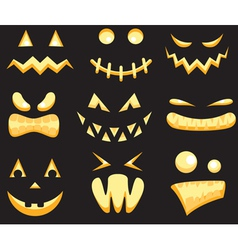Set of halloween faces vector