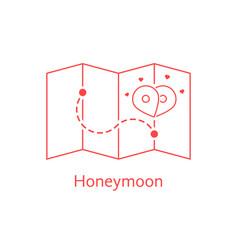 Red thin line map pin like honeymoon vector