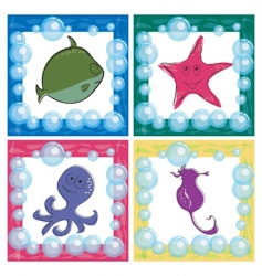 Stylized ocean life icons vector