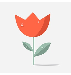 Retro red flower tulip vector