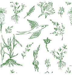 Garden flowers seamless pattern sketch vector
