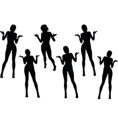 Woman silhouette with hand gesture hands open vector