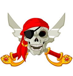 Pirate skull and crossed sables vector