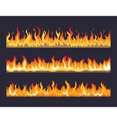 Fire flame seamless set vector