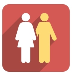 Human couple flat rounded square icon with long vector