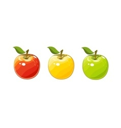 Ripe juicy apple set of vector
