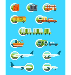 Travel with different types of transport vector
