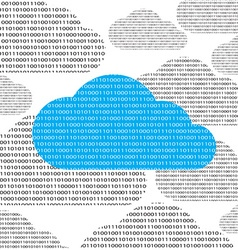 Blue cloud and clouds consisting of binary 0 and 1 vector
