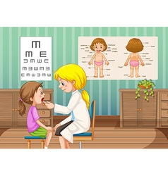 Doctor checking up little girl in clinic vector