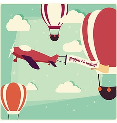Birthday background hot air balloons and airplane vector image vector image