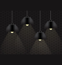 black lamp and lighting on the wall background vector image