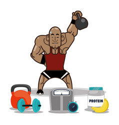 Bodybuilder fitness man weight kettlebell vector
