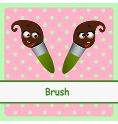 Brush funny characters on a pink background vector