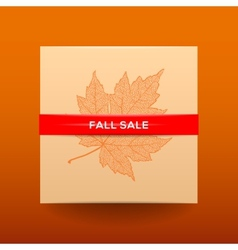 Fall sale poster with dried leaves and simple text vector image