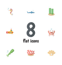 flat icon marine set of seaweed conch vector image