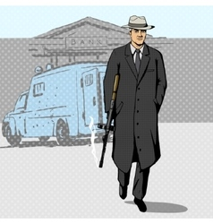 Gangster with gun walking from bank pop art vector