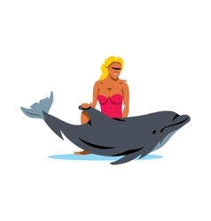 Girl with Dolphin Cartoon vector image