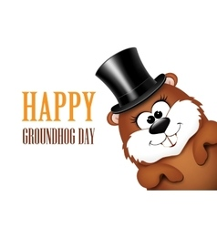 Groundhog day greeting card with cheerful marmot vector