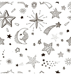 Hand drawn seamless pattern with doodle stars vector image