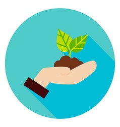 Hand with Plant Growth Circle Icon vector image vector image