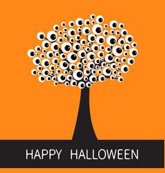 happy halloween card black tree silhouette branch vector image