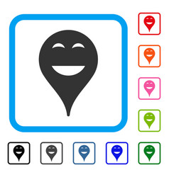 Happy smiley map marker framed icon vector