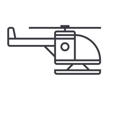 helicopter line icon sign on vector image vector image