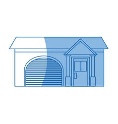 Home garage facade structure outline vector