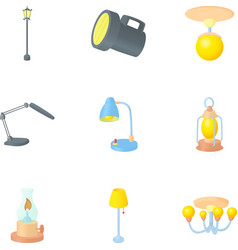 Lamp icons set cartoon style vector