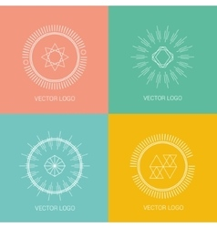 Line design logos and icons elements for cards or vector image