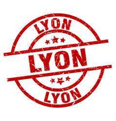 Lyon red round grunge stamp vector
