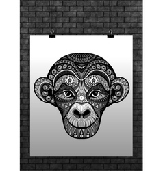 Monkey head avatar chinese zodiac sign vector