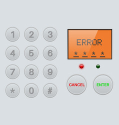 Pin enter display with number buttons and sign vector