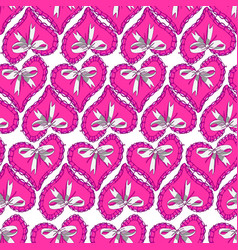 seamless pattern with pink hearts and bow vector image vector image