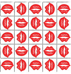 seamless pattern with red lips vector image vector image