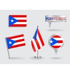 Set of puerto-rican pin icon and map pointer vector