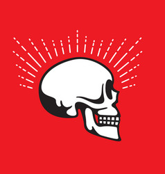 skull side view with halo line graphic effect vector image vector image