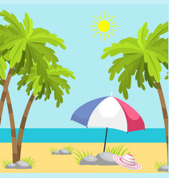 Summer time beach sea shore realistic background vector