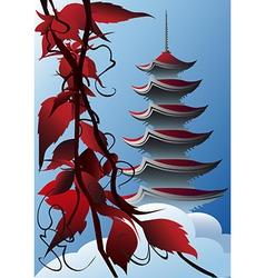 Sunrise pagoda vector