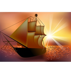 sunset and ship vector image