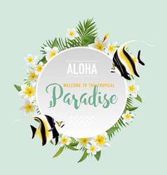 Tropical flowers and exotic fish background vector