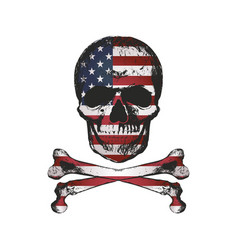 vintage hand drawn skull in grunge style with usa vector image