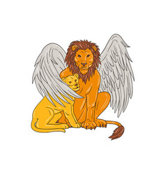 Winged lion with cub under its wing drawing vector